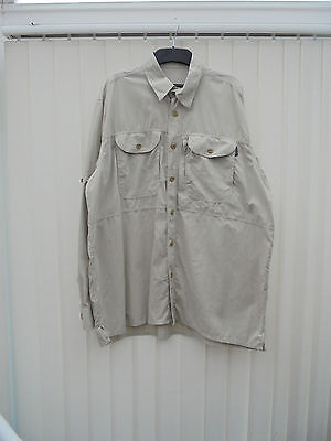 Rohan 'On Route' Mens Size L Stone Long Sleeve Hiking/Walking Shirt