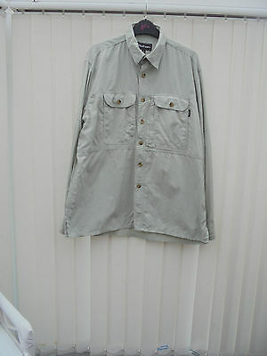 Rohan 'On Route' Mens Size M Stone Long Sleeve Hiking/Walking Shirt