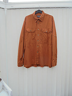Rohan 'On Route' Mens Size M Rust Long Sleeve Hiking/Walking Shirt