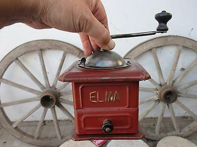 Antique Vintage Spanish Elma Coffee Grinder Mills in Tin Iron Fully Functional