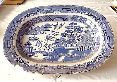 Large Victorian Blue And White Meat Plate