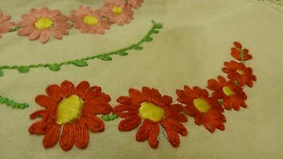 Vintage hand embroidered Irish linen tableclothwith crocheted trim