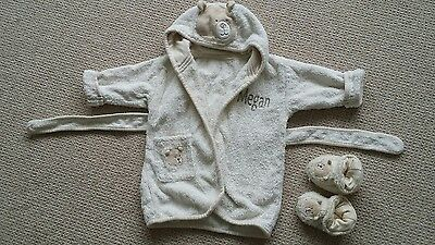 Baby dressing gown & slippers. 0-6 months