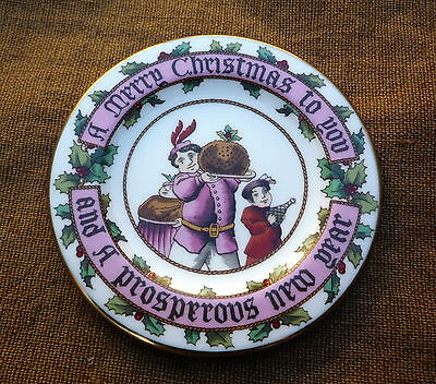 Miniature Spode Christmas plate  figgy pudding Merry Prosperous New Year
