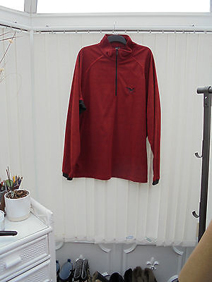 Salewa Mens Sz 4XL Deep Red/Black Long Sleeve Zip Neck Hiking/Walking Fleece Top