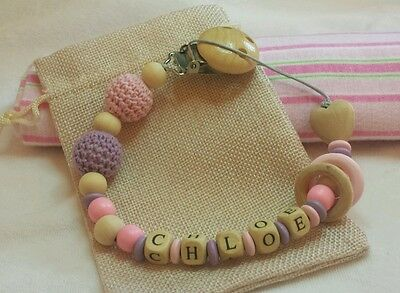 Baby personalized pacifier holder clip dummy toy holder wooden crochet beads