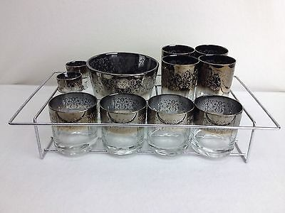 German Hand Blown Bar Glasses & Ice Bucket Sterling Silver Overlay with Caddy
