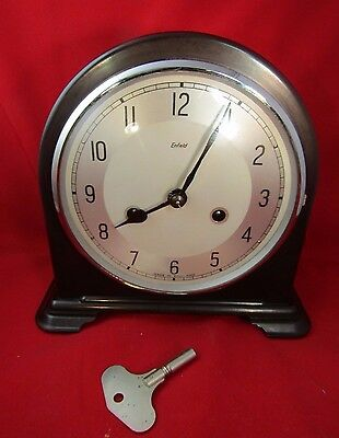 Smiths Enfield Chiming Bakelite 8 Day Mantle Clock With Key & Pendulum- Ex Cond
