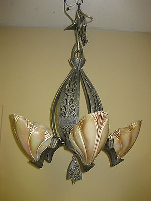 1930s 5 Light Bat Wing Slip Shade Hanging Fixture Deco