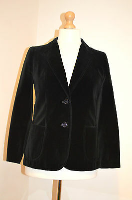 True Vintage St Michael / M&s Black Velvet Tailored Jacket Blazer Coat Uk10 Vgc