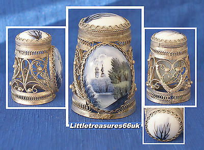 Russian Hand Painted Filigree Thimble.....