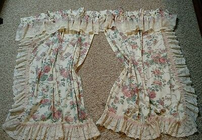 Croscill Elizabeth Victoria Vintage Short Curtain Lace Ribbons Rose Cottage Chic