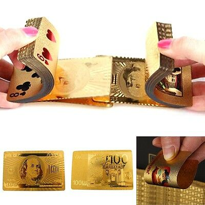 24K Gold Foil Plated Waterproof Game Poker Grid Pattern Playing Cards NEW