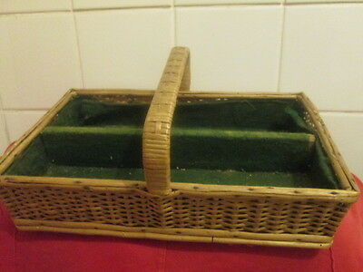 old basket for carrying cutlery  possibly art deco period