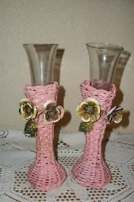 CHIC Pr PINK WICKER TOLE FLOWERS VASES GLASS ITALIAN LIKE SHABBY COTTAGE VINTAGE