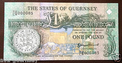 Super Low Numbered Guernsey £1 Note Tdlr0000 85 Mint Unc & Limited Edition.