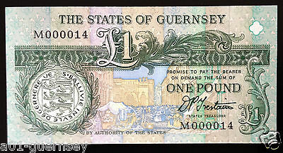 GUERNSEY SIGNED TRESTAIN £1 (FIRST RUN & LOW NUMBER) M0000 14 MINT UNC P52b