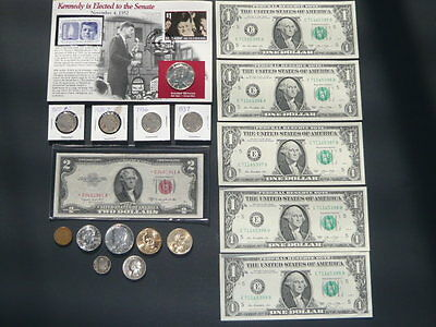 Mixed Lot of Rare US Coin and Currency. Historical, Collectible Set