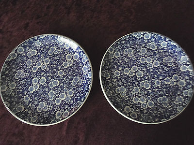 (2) Vintage BLUE & WHITE CHINTZ PLATES (Made In Japan)
