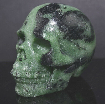 """2.5"""" Ruby Zoisite Skull Realistic Hand Carved Crystal Healing Gems SK 64"""