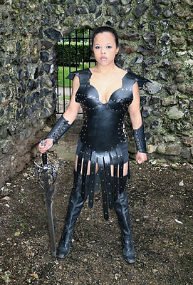 Real Leather Gladiator Warrior Corset Armour with Skirt LARP SCA Halloween Armor