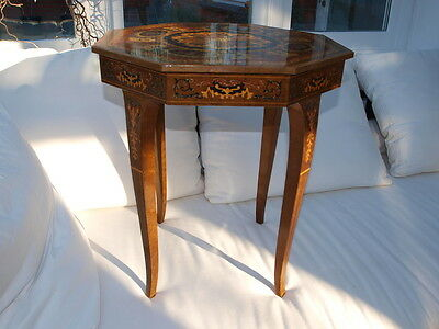 Antique small table - Italian Octagonal Marquetry and Inlay Music Table