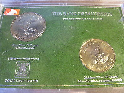 Bank of Mauritius Conservation Coin Issue  UNC .500 Silver Coins w/COA  Flat# TH