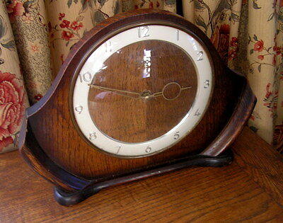 Old Vintage Art Deco 1930S Wooden Smiths 8 Day Mantel Clock Wind Up Works Well