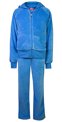 Childrens Velour Tracksuits Girls Kids Full Set Hoody Joggers Blue Age 7 - 8