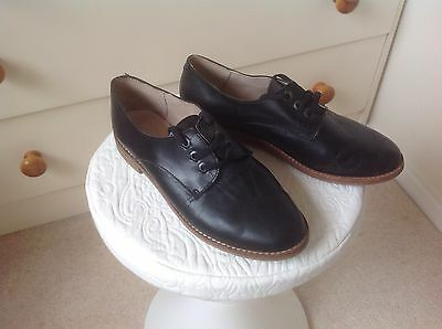 black Leather lace-up handmade shoes size 5