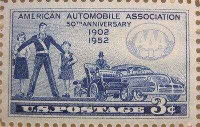 1952 Us Stamp American Automobile Association 3 Cent Commemorative Stamp Mnh