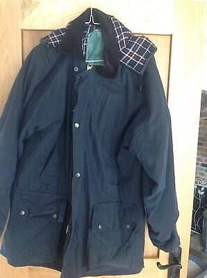 Men's/ladies navy new wax jacket large detachable hood by walk about hunting