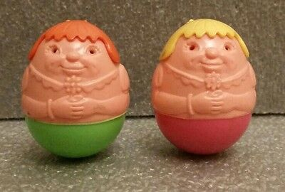 Pair Of Airfix 1970 Weebles Vintage Figures Blonde & Ginger Family Toys Retro