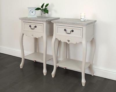 Set of 2 antique cream 'Heyford' BEDSIDE TABLES night stand shabby chic