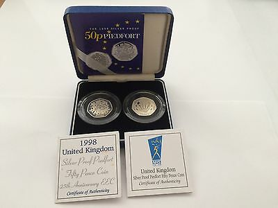 1998 Piedfort 50p Silver Proof 2 coin set