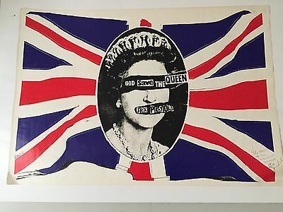 ORIGINAL SEX PISTOLS GOD SAVE THE QUEEN POSTER 1977 signed by JAMIE REID