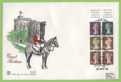 G.B. 1999 £1.00 booklet panes on Stuart First Day Cover, Windsor