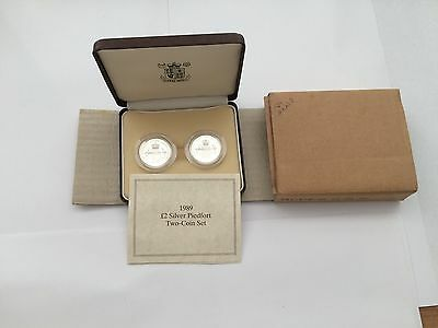 1989 Piedfort 2 Pounds Silver Proof 2 coin set
