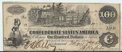 1862 $100.00 CONFEDERATE STATES CURRENCY BILL with train   Richmond Va