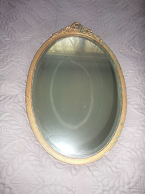 Antique OVAL MIRROR in Gold Wooden Ornate Frame