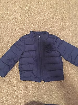 Baby Gap Girls Navy Quilted Jacket Age 3 With Flower Detail