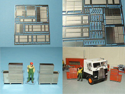 1/87 roll cabinets with top chests for roco military workshop model train layout