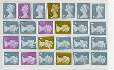 25 x various 1st Class  stamps Unfranked