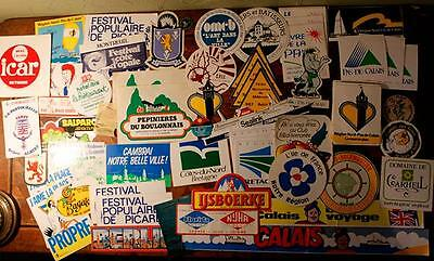 Job Lot Vintage French 70s, 80s Travel Luggage Tourism Holiday Stickers Labels !