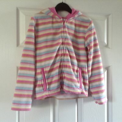 Girls pink striped zip up hoodie by Ethel Austin age 7-8