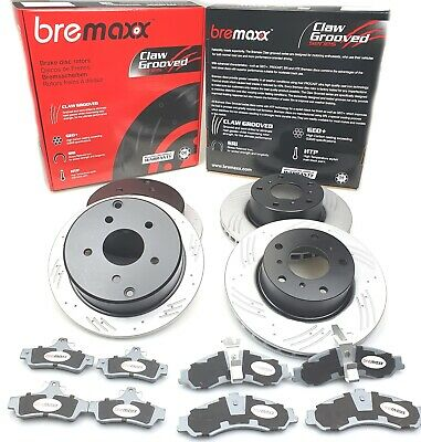SLOTTED disc brake rotors  & BREMBO pads FRONT + REAR COMMODORE VT VX VU VY VZ