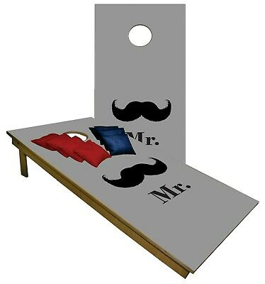 Cornhole Boards Mr and Mrs White BEANBAG TOSS GAME w Bags  Set 1299