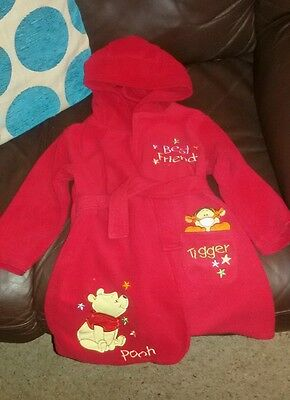 red winnie the pooh baby's dressing gown age 12-18 months