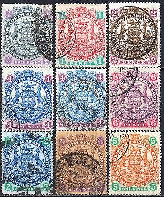 Rhodesia, 1896 Arms issue, SG 41 - 49, used, Cat £105