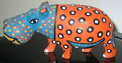 """8"""" Hand Carved and Painted Hippo from Zimbabwe"""